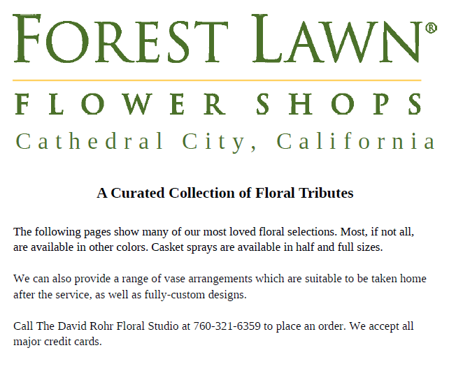 Forest Lawn Flower Shops Mini-Selection Guide